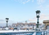 foto of winter palace  - Royal Palace  in Budapest at winter day - JPG