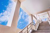 foto of stairway to heaven  - Stairway to the blue sky in evening - JPG