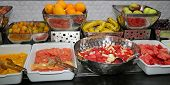 image of fruit platter  - Food Buffet in Restaurant. All inclusive. Breakfast buffet.
