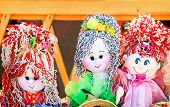 pic of rag-doll  - The souvenirs in the form of amusing dolls sewed from rags of fabric and laces - JPG