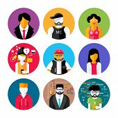 picture of emo-boy  - Set of stylish avatar of male and woman icons in flat design - JPG