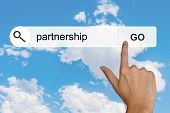 stock photo of partnership  - partnership button on search toolbar - JPG