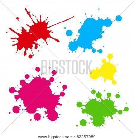 Collection Of Colorful Paint Splash Vector Set Of Brush Strokes