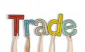 picture of bartering  - Diverse Hands Holding the Word Trade - JPG
