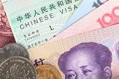 foto of yuan  - Chinese or Yuan banknotes money and coins from China - JPG