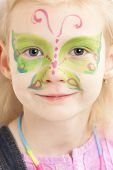 pic of face painting  - portrait of little girl with face painting - JPG