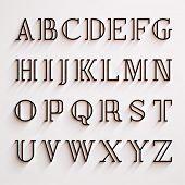 foto of alphabet  - Vector latin alphabet with shadow effect - JPG