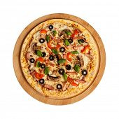 stock photo of basil leaves  - Ham pizza with capsicum - JPG