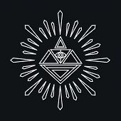 picture of illuminati  - Vector linear abstract hipster logo template  - JPG