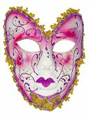 foto of venetian carnival  - Carnival mask red pink Christmas New year Venetian white background isolated object