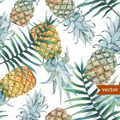 picture of jungle flowers  - Beautiful vector tropical pattern with flowers and pineaples - JPG