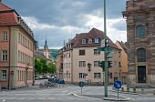 stock photo of square mile  - Cobbled square in a small Bavarian city - JPG