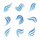 stock photo of web surfing  - vector set of flow water blue icons - JPG