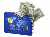image of plastic money  - Open card and bills  - JPG