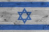 image of israel israeli jew jewish  - Israel national flag. Painting is colorful on wood of old train carriage. Fastened by screws or bolts. ** Note: Soft Focus at 100%, best at smaller sizes - JPG