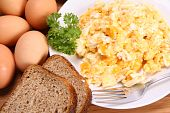 stock photo of scrambled eggs  - Scrambled eggs - JPG