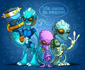 picture of alien  - Three different types of alien invaders and shades. The biggest invader with weapons. 