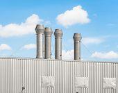 stock photo of ventilator  - Ventilation system of factory with blue sky background - JPG