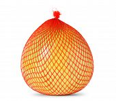 picture of pomelo  - Yellow pomelo wrapped in plastic and mesh on white background - JPG