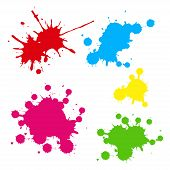 stock photo of expressionism  - Collection of colorful paint splash - JPG