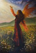 stock photo of fairy  - A beautiful painting oil on canvas of a fairy woman in a historic dress standing in rays of sunlight amids a wild meadow - JPG