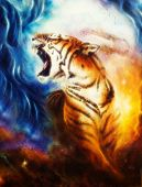picture of airbrush  - A beautiful airbrush painting of a roaring tiger on a abstract cosmical background - JPG