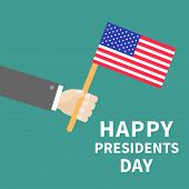 foto of election campaign  - Hand with american flag Presidents Day background flat design Card Vector illustration - JPG