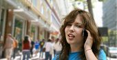 City girl talking on the phone poster