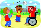 foto of wheelchair  - Two teens playing with a boy on wheelchair - JPG