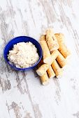 picture of grating  - horseradish root and grated horseradish - JPG