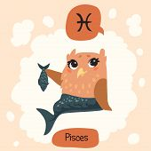 picture of pisces  - Colored cute owl horoscope - JPG