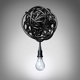 pic of creativity  - Creative advice concept as a lightbulb or light bulb hanging down from a tangled chaos of twisted electric cord as a success metaphor and creativity resolution symbol - JPG