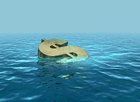 foto of wallow  - A 3D render of dollar symbol sinking or wallowing - JPG