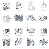 stock photo of treble clef  - Abstract music notes black icons set with treble clefs audio waves symbols and swirls isolated vector illustration - JPG