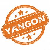 image of yangon  - Round rubber stamp with city name Yangon and stars - JPG