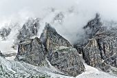 picture of pale  - Storm clouds over the top of the mountains Pale di San Martino landscape from Venegia Valley in a summer rainy afternoon Trentino  - JPG