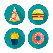 stock photo of donut  - Fast food vector icon design - JPG