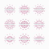 image of symmetrical  - Simple pink geometric abstract symmetric shapes set - JPG