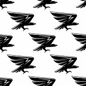 stock photo of hawk  - Seamless pattern with black hawks birds for heraldic or nobility design - JPG