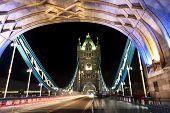 image of london night  - The Tower bridge in London illuminated at night - JPG