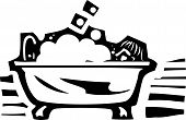 image of bubble bath  - Woodcut style image of a person sitting in a bubble bath in a claw foot bathtub - JPG