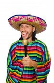 foto of maracas  - Handsome man in vivid poncho holding maracas isolated on white - JPG