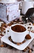 pic of coffee grounds  - Ground coffee rests in a ceramic Cup - JPG