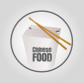 picture of chinese wok  - Icon Chinese Food with Take away box - JPG