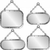 foto of plaque  - set of isolated metal plaques hanging on a chain - JPG