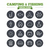 foto of fishing bobber  - Camping and fishing linear icons set - JPG