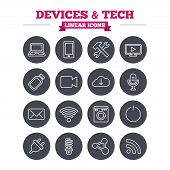 stock photo of flashing  - Devices and technologies linear icons set - JPG