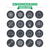 image of sign board  - Engineering linear icons set - JPG