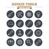 picture of sign board  - Repair tools linear icons set - JPG
