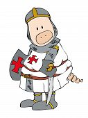 stock photo of paladin  - Illustration of a funny crusader pig with longsword and shield - JPG